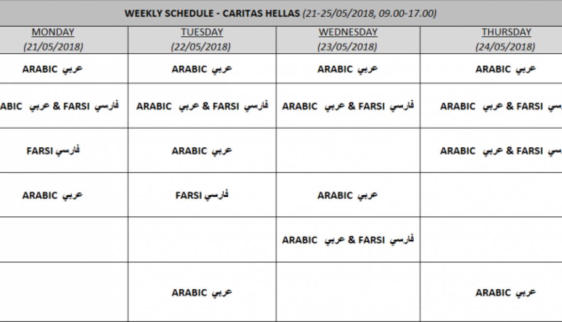 Translation Services in Athenian Hospitals –  Weekly Scedule – Caritas Hellas